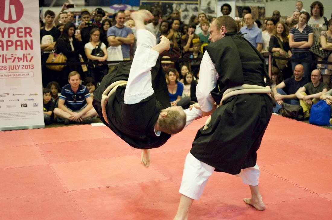 Demonstration of Shorinji kempo at the Hyper Japan London martial arts stage